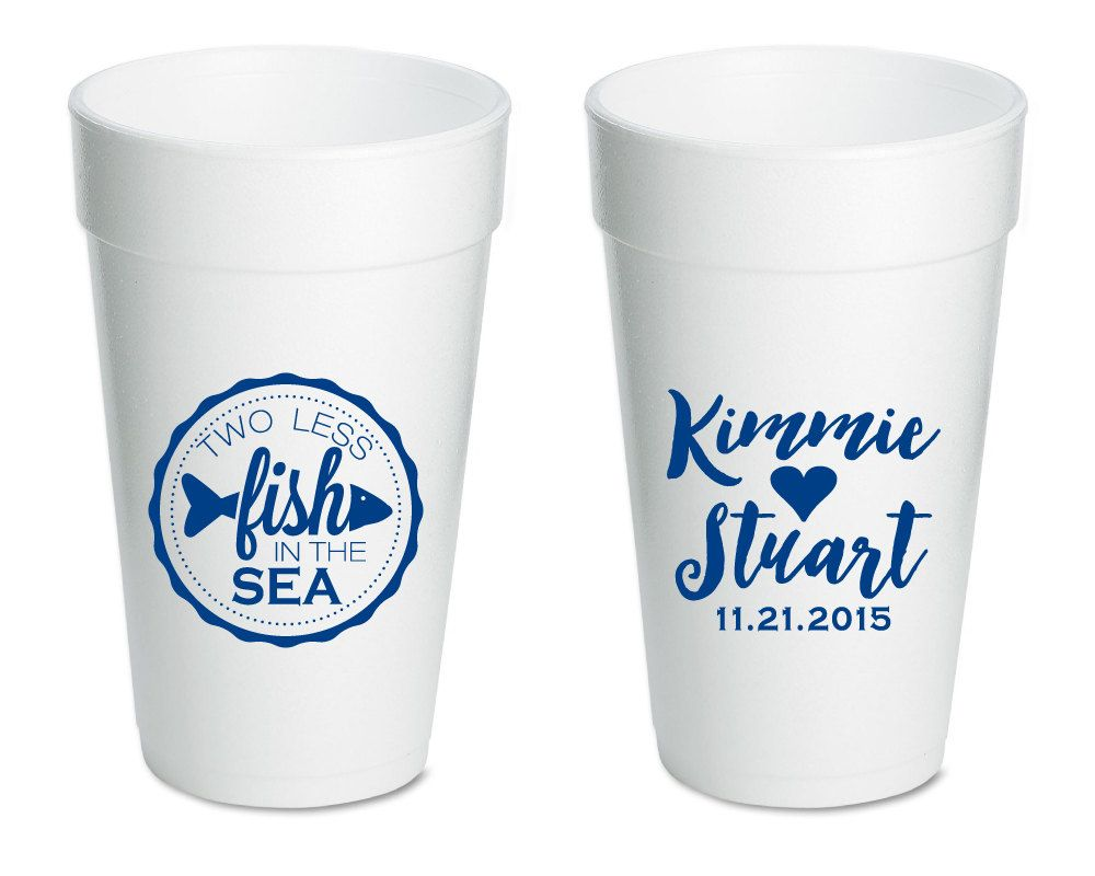Two Less Fish in the Sea Wedding Favors, Wedding Cups, Personalized ...