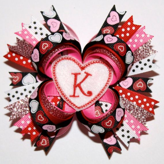 Pink hearts Love Hair Bow Valentines Day Hair Bow Valentines Day.1 st Valentine\u2019s Day Hairbow