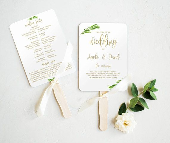 Wedding Fan Program Template Printable Fan Weddings Invitation