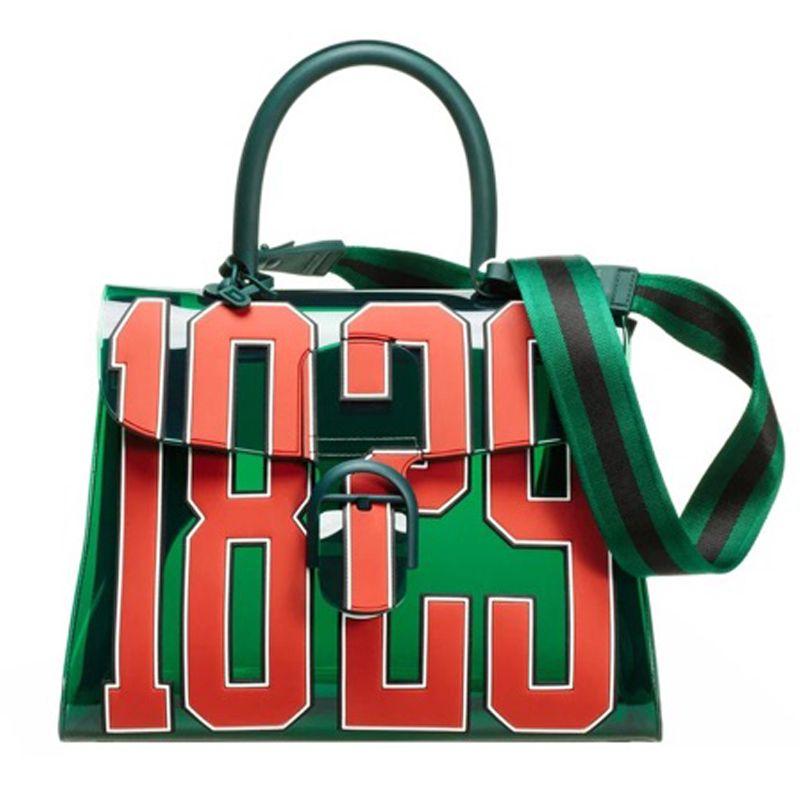 5010ab6a206 Fashion women 1829 3D Transparent Green Jelly Handbag for Lady Summer Beach  Bag Letter Printing Fashion
