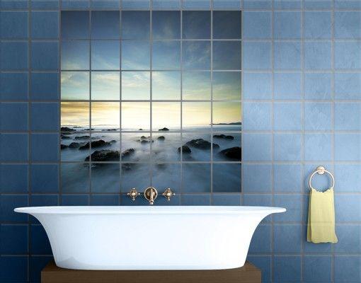 Fliesenbild #Sonnenuntergang über dem #Ozean #Badezimmer #Ideen - deko ideen badezimmer wandakzente