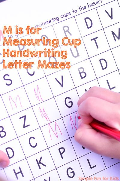 m is for measuring cup handwriting letter mazes. Black Bedroom Furniture Sets. Home Design Ideas