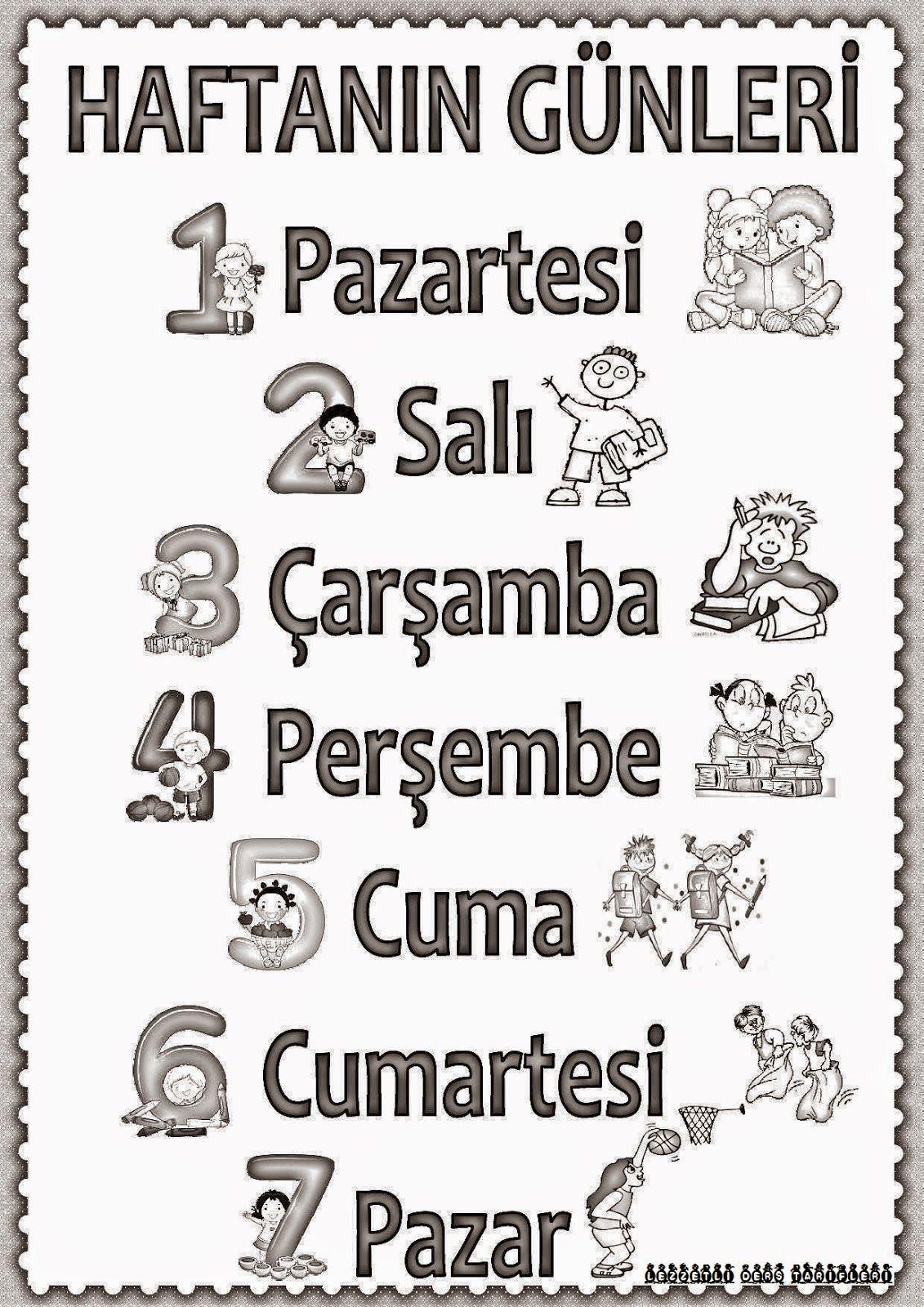 Haftanın Günleri Pano çalışması Poster Turkish Language Learn