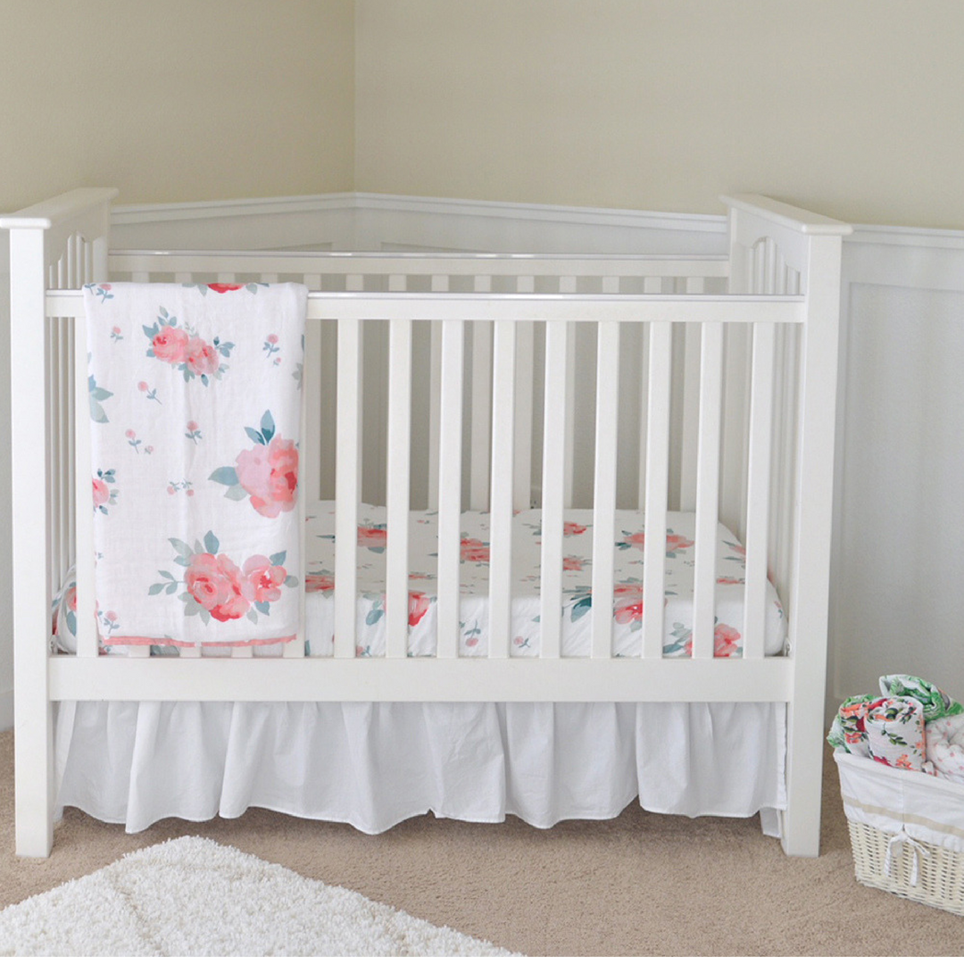 Rosy Luxury Muslin Crib Sheet Cribs Floral Crib Sheet Crib Sheets