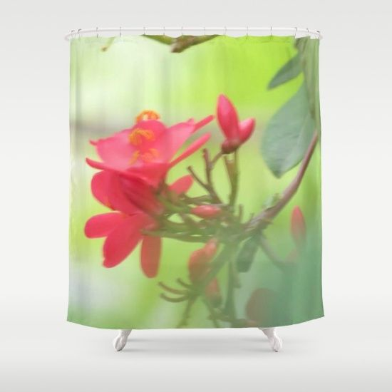 Tiny Red Flower Shower Curtain
