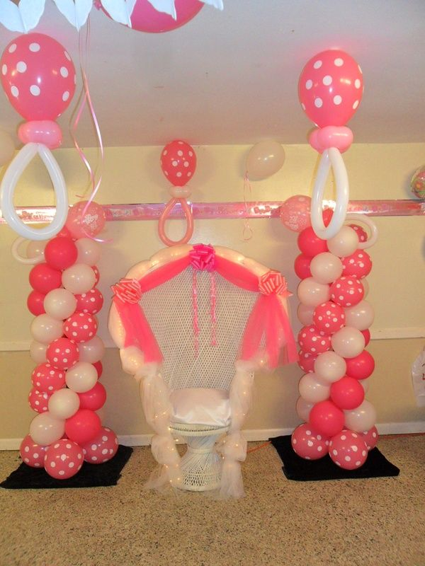 Balloon baby centerpieces pacifiers chair
