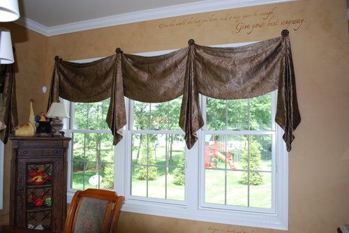 Swag Valances With Jabots On Decorative Iron Medallions Home