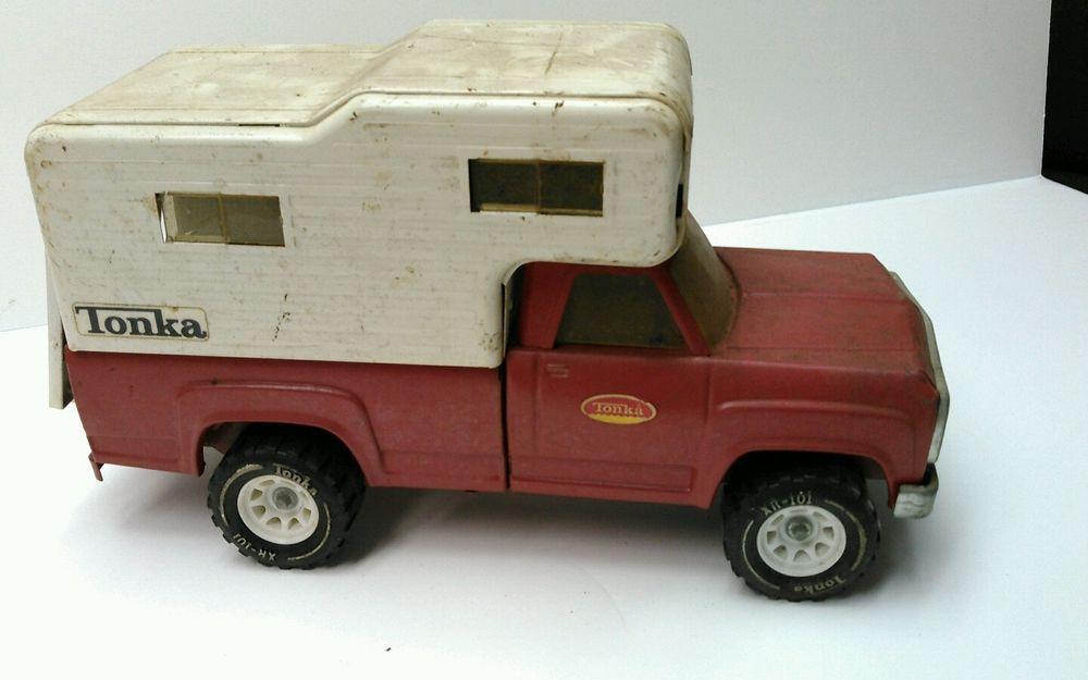 Vintage Tonka Toy Red Dodge Pickup Truck White Camper Top