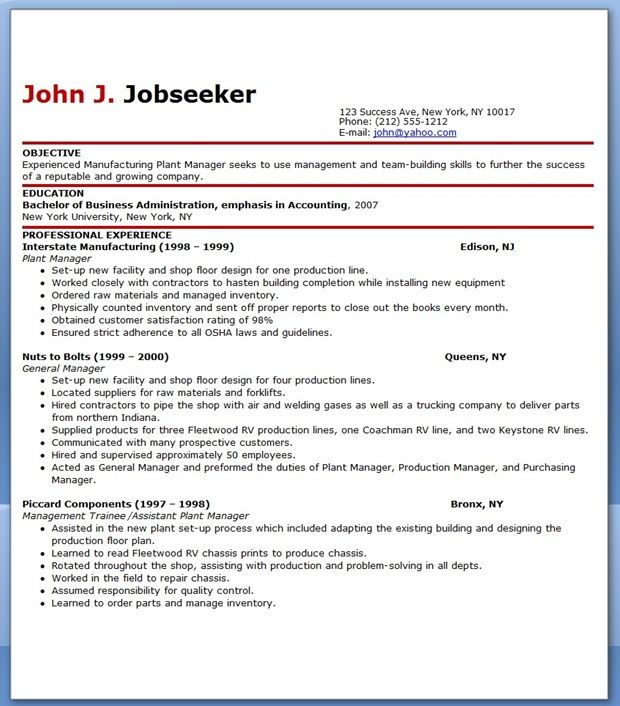 Manufacturing Plant Manager Job Description Creative Resume Design