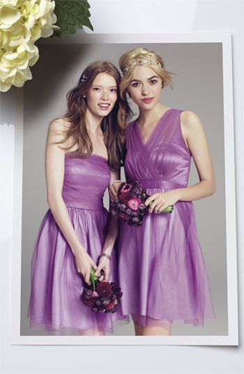 "Donna Morgan tulle dresses in ""sweet lilac"""