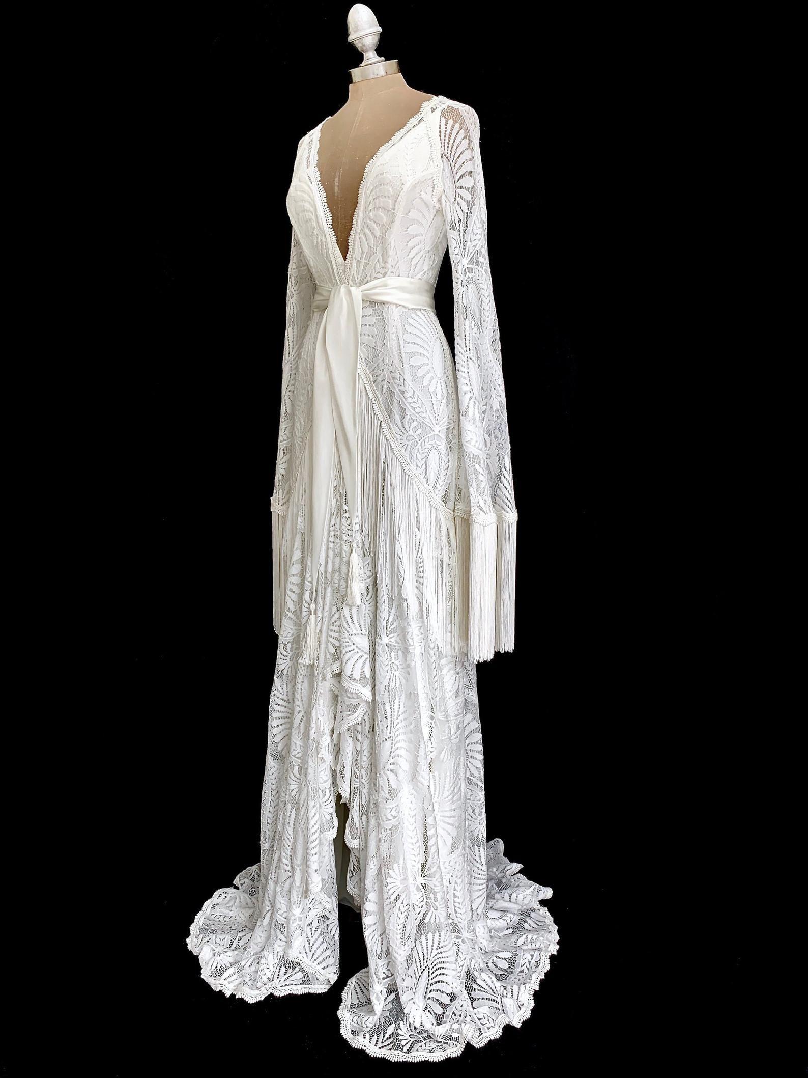 Wedding dress bohemian wedding gown lace boho dress beach wedding caftan wedding robe