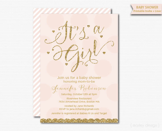 Baby Shower Invitation Gold Pink Baby Girl Invitation Printable Baby