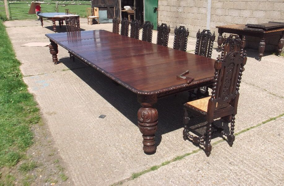 Huge 15ft Jacobean Victorian Dining Table 5 Metre Late Carved Oak Extending To Seat 20 People Comfortably