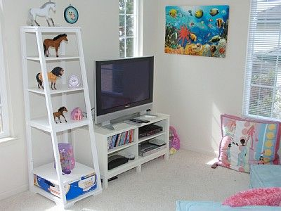 kids play room with stylish tv cabinet