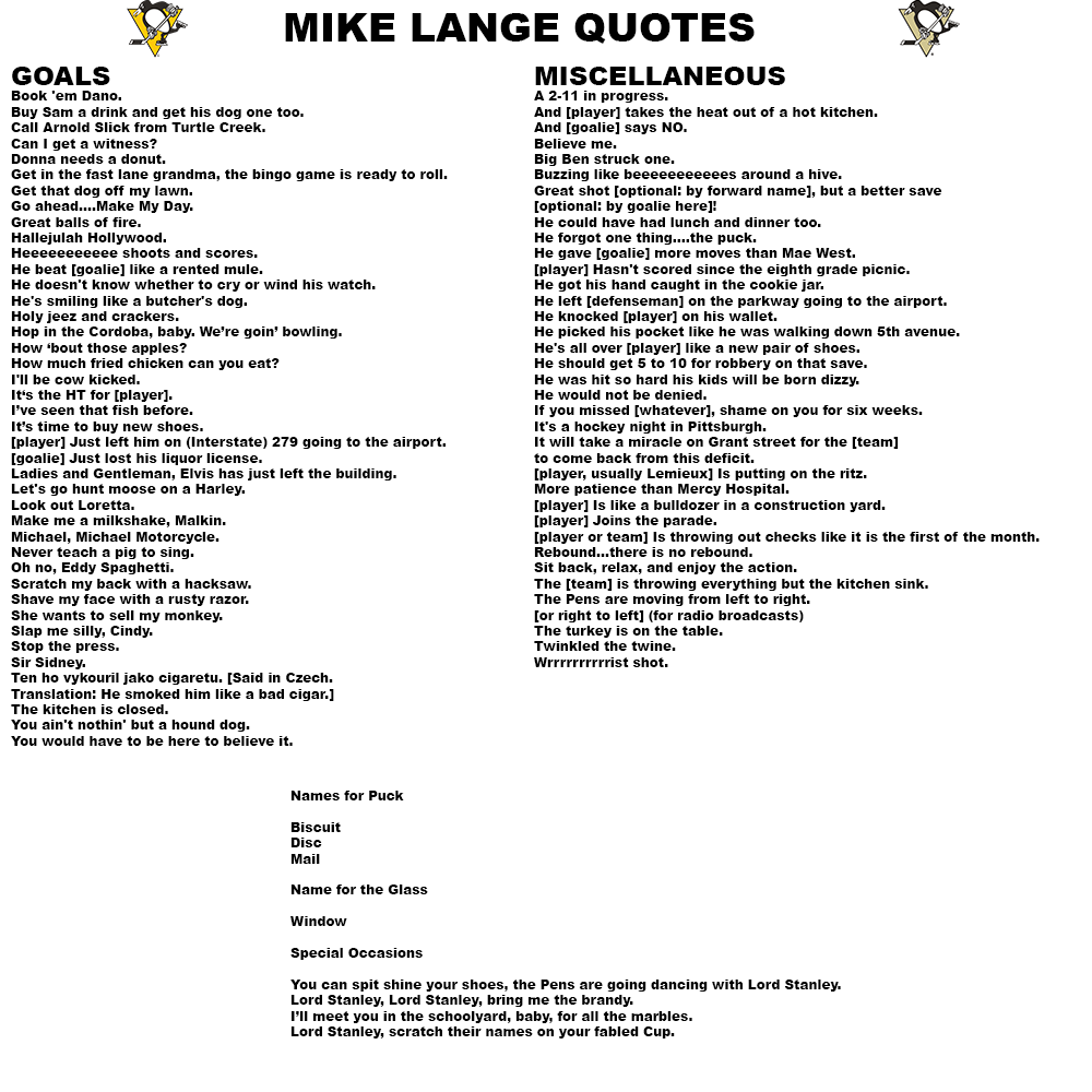 Pittsburgh Quotes Mike Lange Quotesobviously Pens Fans Would Probably Know About
