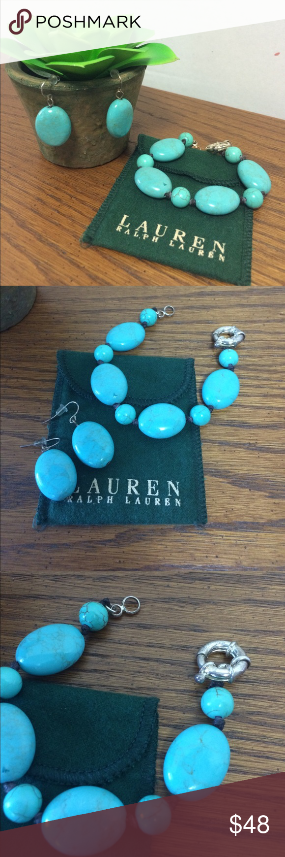 Lauren RL Bracelet and Earrings Set Beautiful.  Gently used condition and see pics.  Slight mark in one stone as pictured but I don't think would be noticed.  Priced accordingly for this eye catching set. I don't see a RL mark.  Based on memory and stored in bag given when purchased.  Worn a few times. Lauren Ralph Lauren Jewelry
