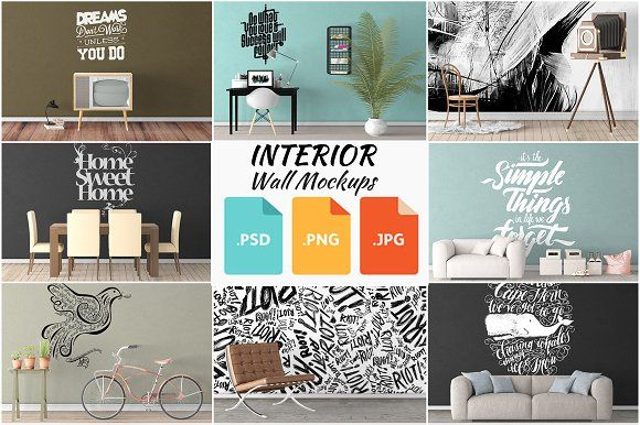 Interior Wall Mockups Bundle 1-10 by Creative Interiors on @creativemarket