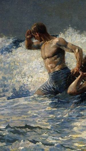 Winslow Homer荷馬。有些像西班牙畫家哥雅的「巨人」。