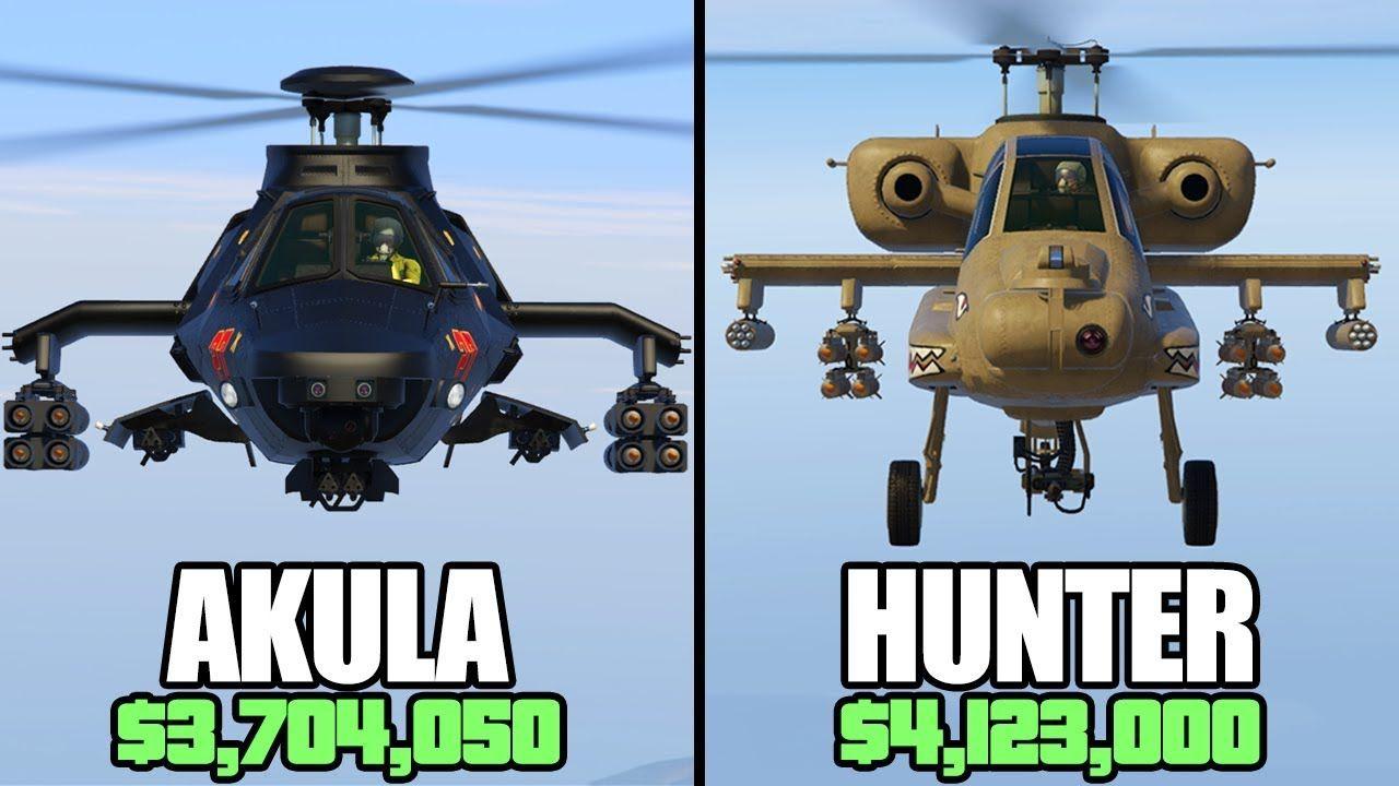 GTA 5 Online Akula Vs Hunter (3,704,050 Vs 4,123,000