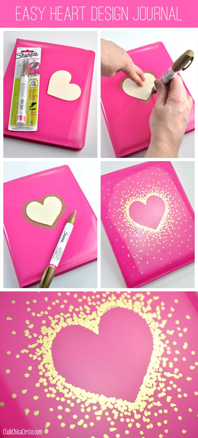 Gold Sharpie Heart Design on Journal by Club Chica Circle. | Art ...
