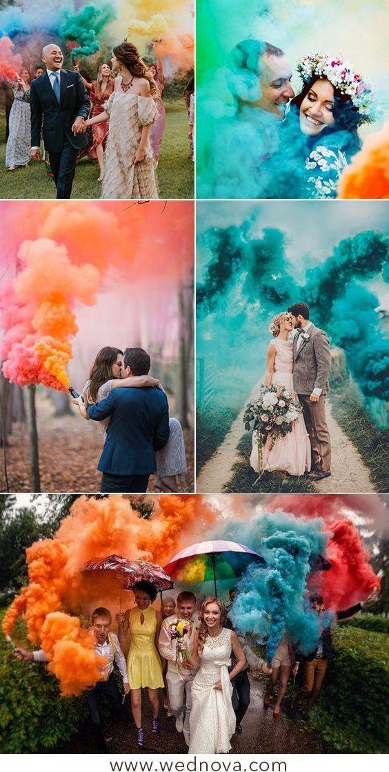 50 + Inspirations de mariage de bombes fumigènes fraîches et colorées que vous adorerez - #Bo...