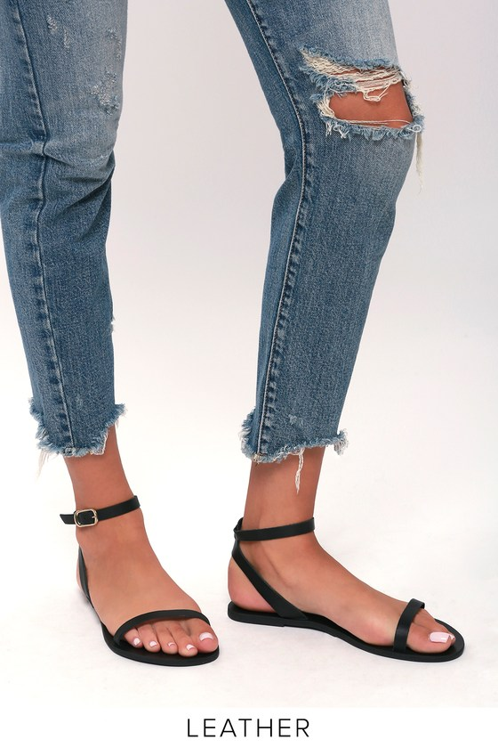 Colette Black Nappa Leather Flat Ankle