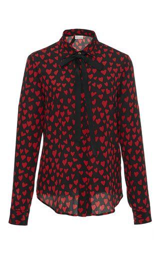 3179517671a Red Valentino - Silk Crepe De Chine Heart Print Blouse