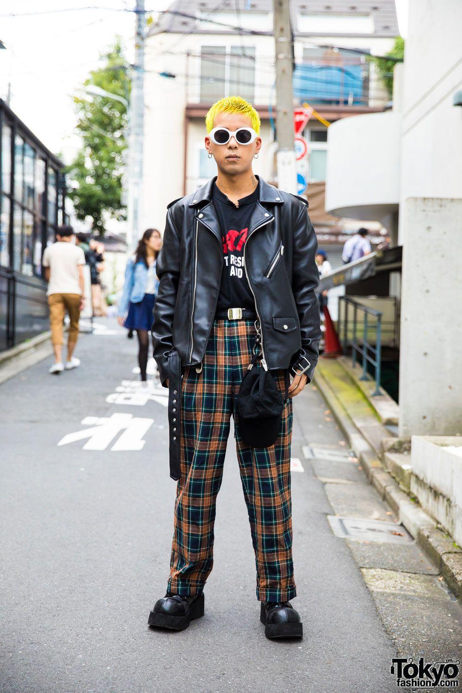 Harajuku Guy S Punk Inspired Street Style W Yellow Hair Biker Jacket Demonia Myob Nyc