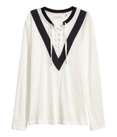 Jersey Top with Lacing | Natural white | Ladies | H&M US