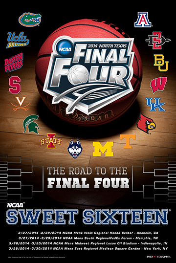 2014 Official Ncaa March Madness Sweet 16 Teams Basketball Print Poster Ncaa March Madness March Madness Ncaa