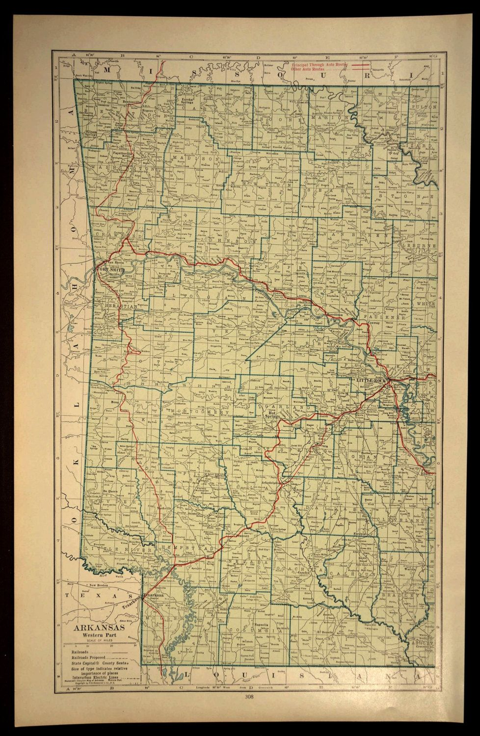 Western Arkansas Map LARGE Arkansas Road Map West Wall Art | Map ...