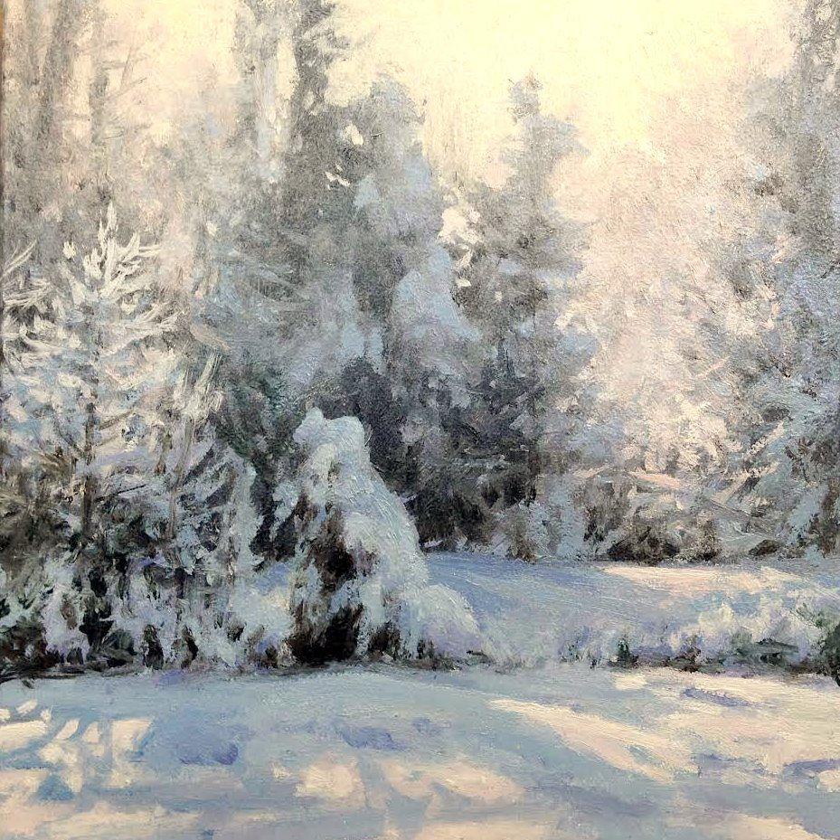 Michael Godfrey Wonderland 6x6 Oil Winter Landscape Painting Winter Painting Landscape Paintings