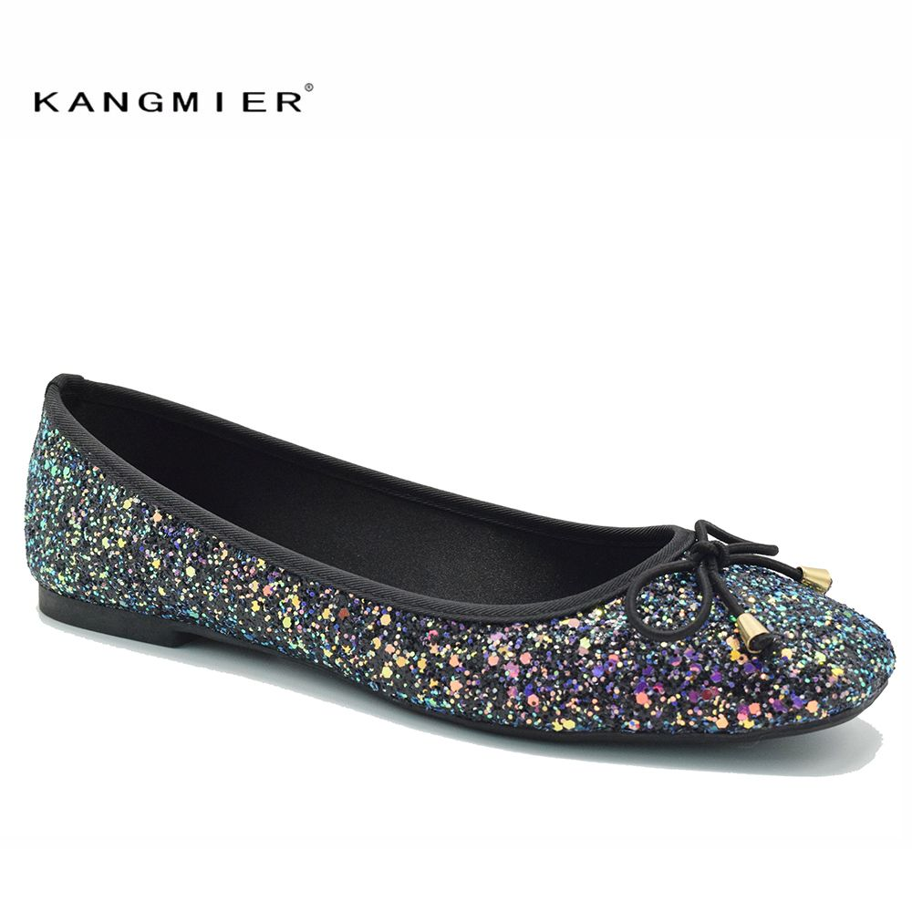 e6579cc1d1b Cheap KANGMIER shoes women Leopard suede ballet flat shoes with square toe  and bow slip on