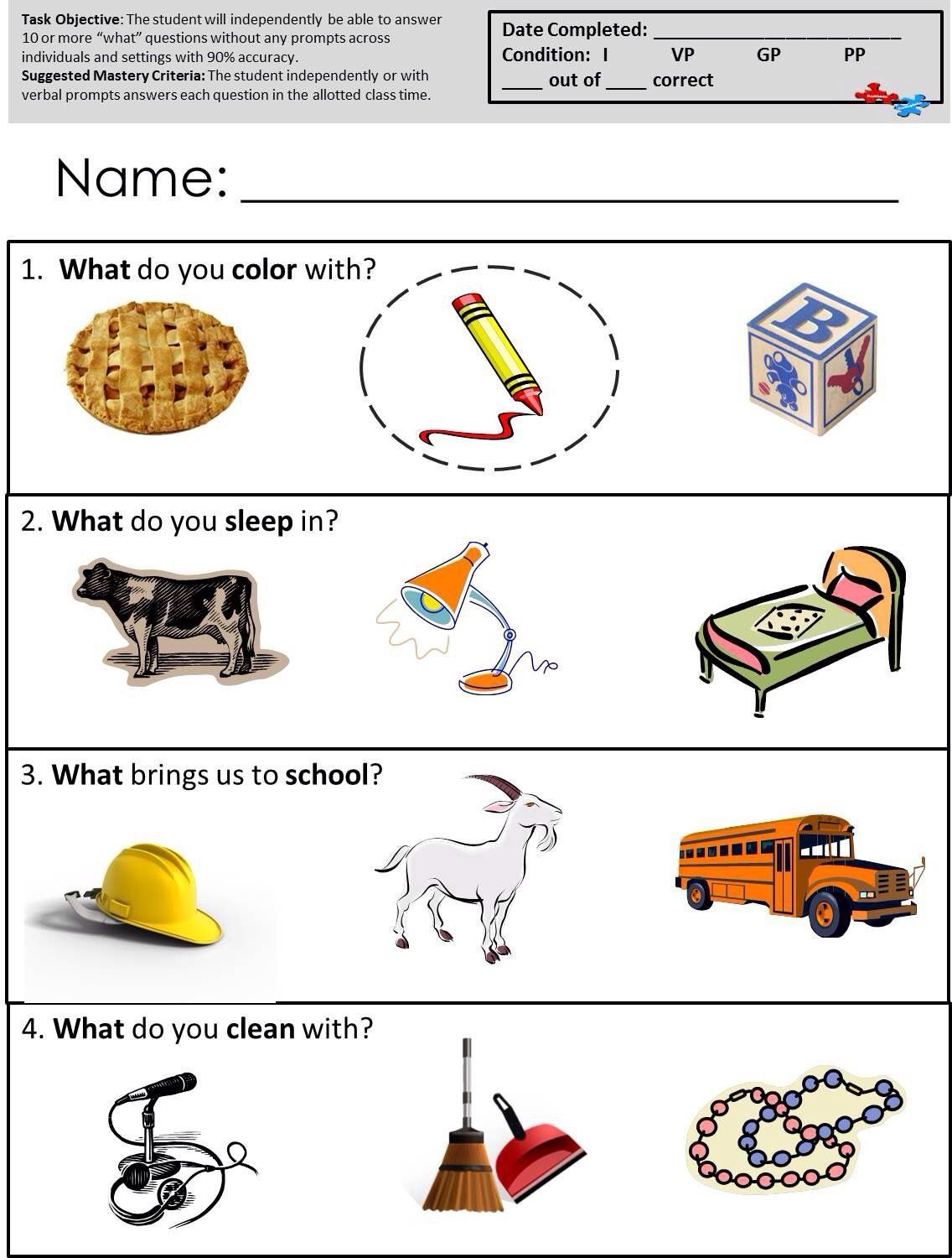 Math Worksheets For Autistic Students Speech Therapy