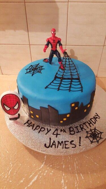 Spiderman Cake - Vanilla Cake with Vanilla Frosting
