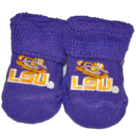 LSU Tigers Two Feet Ahead Infant Baby Newborn Purple Gold Tiger Eye Sock Booties