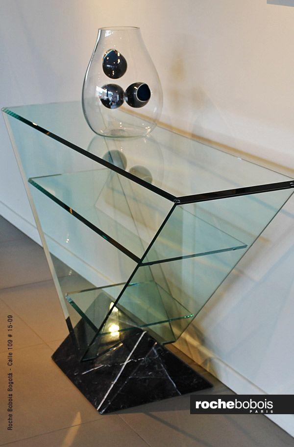 Consola Victoire Diseño Maurice Barilone Estructura De Cristal Templado Biselado Grosor 15 Mm 2 Estantes De Cri Muebles De Cristal Muebles Con Espejo Muebles