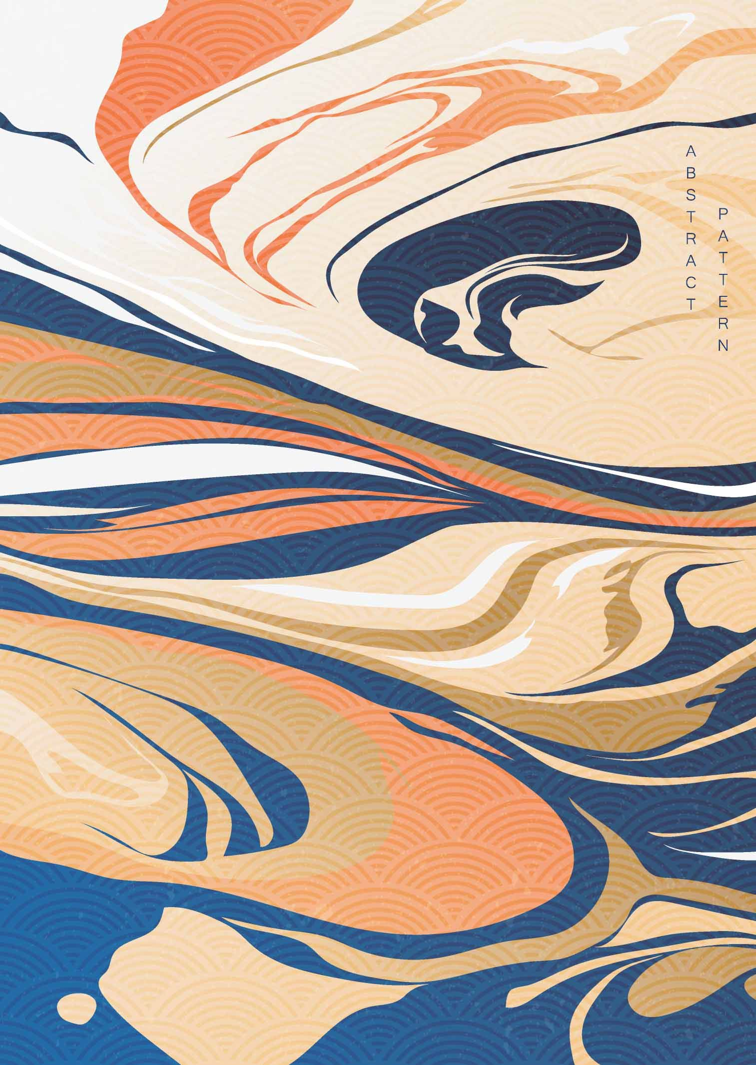 #Abstract #background #Japanese #wave #pattern #vector. # ...
