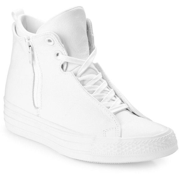 8543ae16832d Converse Leather Chuck Taylor All Star Selene Mid Top Wedge Sneakers ( 100)  ❤ liked on Polyvore featuring shoes