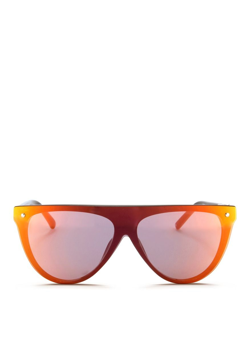 8942adcca59 3.1 phillip lim X Linda Farrow Flat Top Mirror Shield Acetate Sunglasses in  Orange