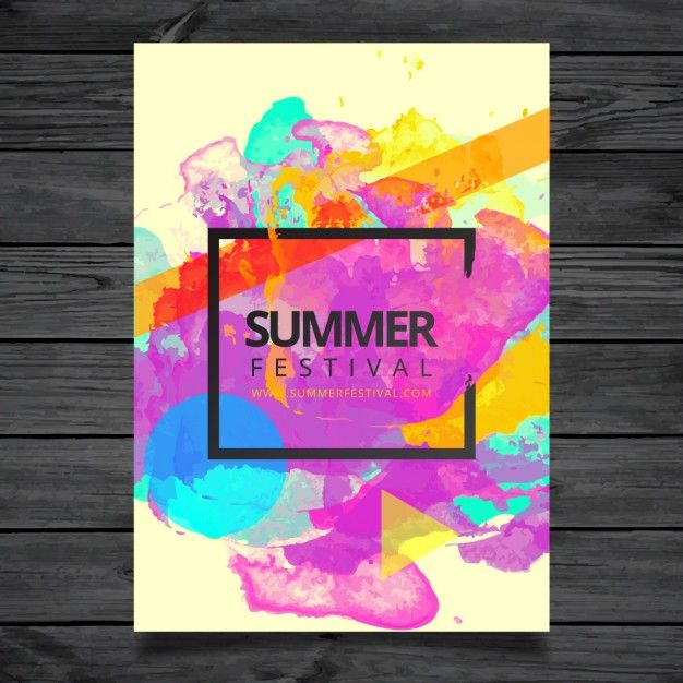 watercolor summer festival poster template free vector graphic