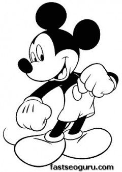 Coloring Page Print Out Mickey Mouse Happy Face Printable