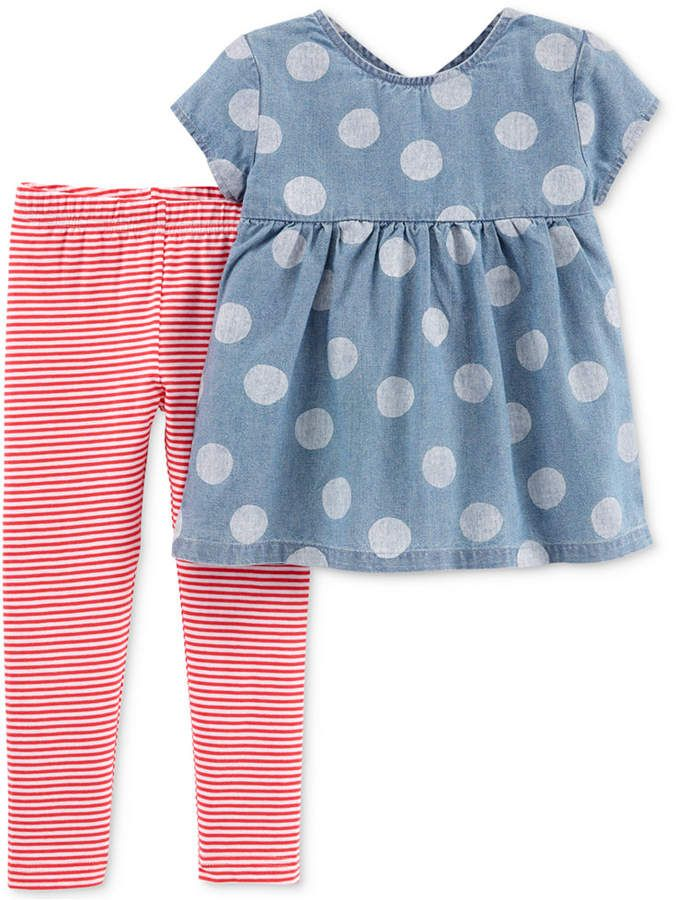 68e550a02c8 Carter's Carter Toddler Girls 2-Pc. Chambray Tunic & Striped Leggings Set