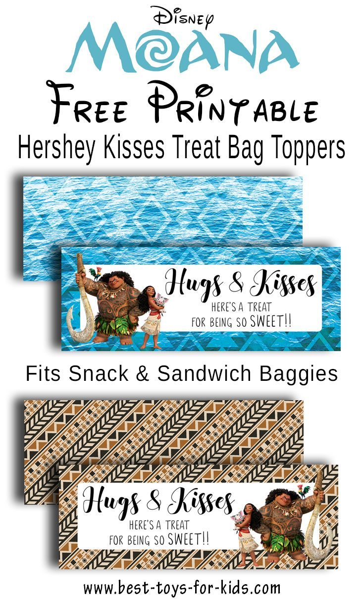 graphic regarding Free Printable Bag Toppers Templates known as Disney Moana No cost Printable Hershey Kiss Stickers, Address Bag