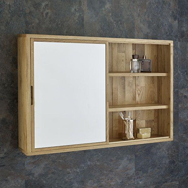 Sliding Door 800mm Wide Solid Oak Mirror Bathroom Cabinet And