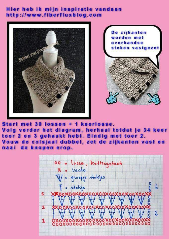 Colsjaal Met Knopen Sjaal Pinterest Crochet Crochet Shawl En