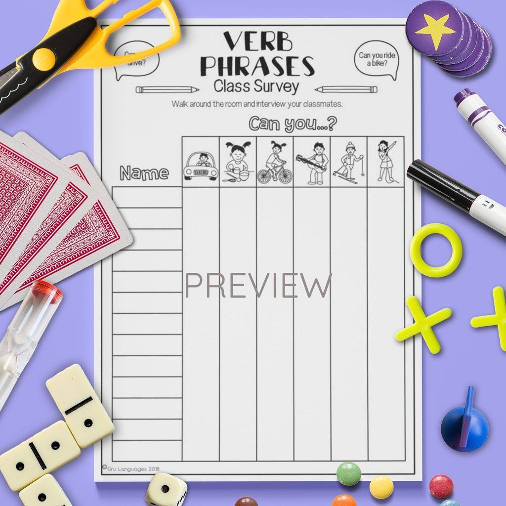 Verb Phrases Class Survey Speaking Activities English Language Learning Games Class Activities