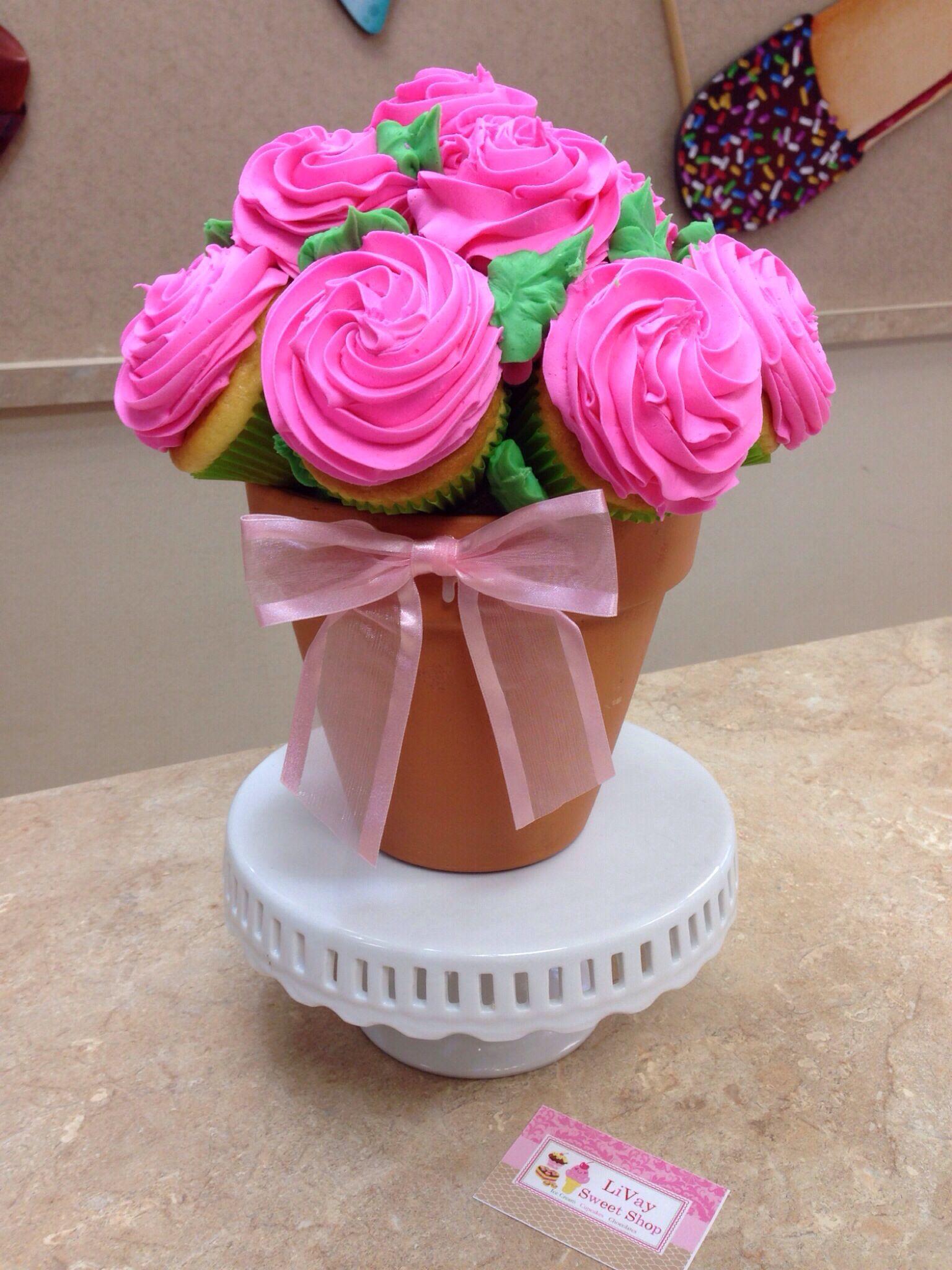 Pink Flower Pot Cupcake Bouquet Livaysweetshop Sweetshop Goodies