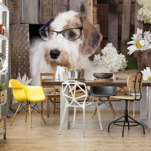 Brayden Studio Clever Dog 3.68m x 2.54m Semi-Gloss Wall Mural | Wayfair.co.uk