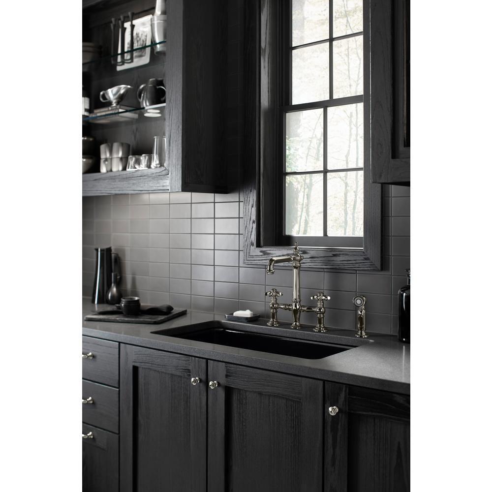 Kohler artifacts 2handle bridge kitchen faucet with prong